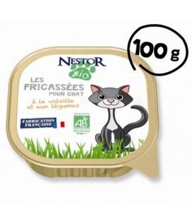 Fricassée bio pour chat à la volaille et aux légumes