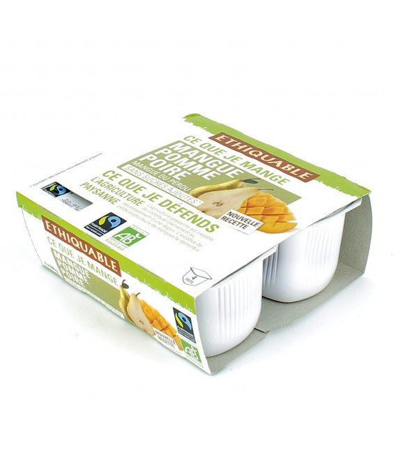 Compote mangue, pomme & poire bio et équitable
