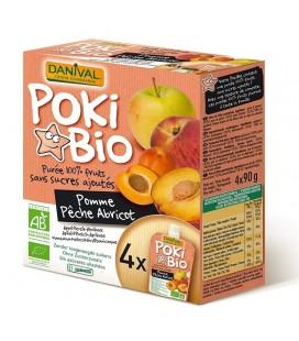 DANIVAL Poki Bio - Purée pomme, pêche & abricot 100% fruit bio sans sucres ajoutés