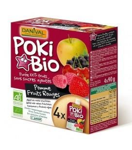 DANIVAL Poki Bio - Purée pomme & fruits rouges 100% fruit bio sans sucres ajoutés
