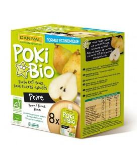 DANIVAL Poki Bio - Purée poire nature 100% fruit bio sans sucres ajoutés
