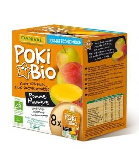 Poki Bio - Purée pomme & mangue 100% fruit bio sans sucres ajoutés