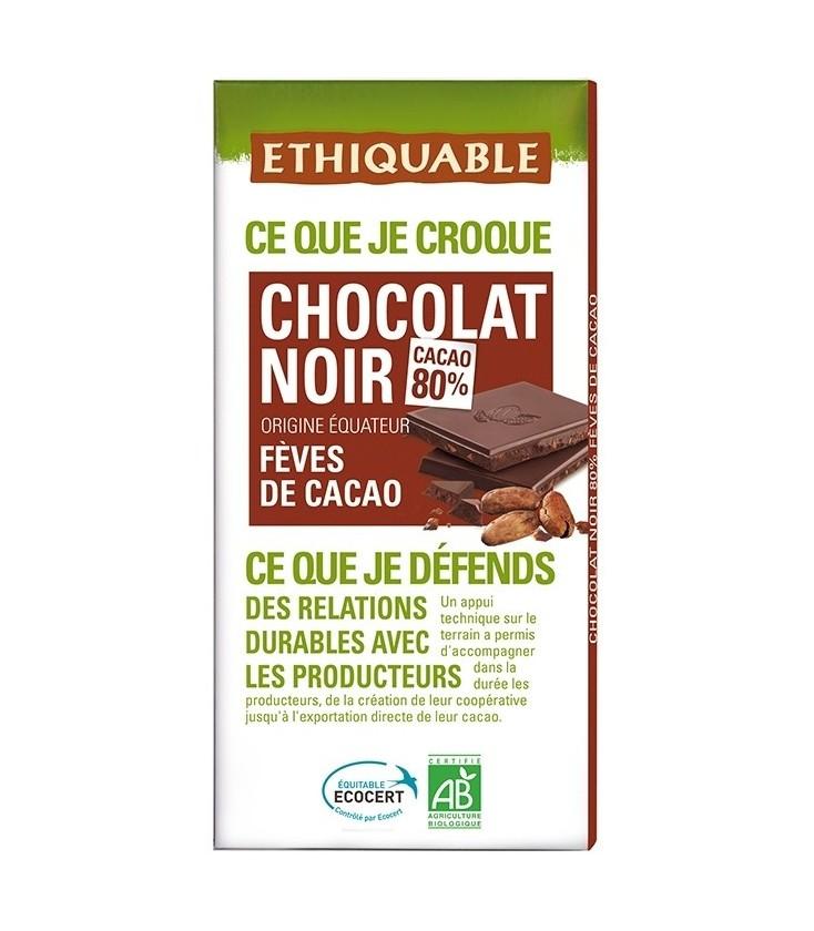 Chocolat Noir Fèves de Cacao bio & équitable