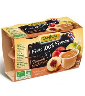 Purée pomme & nectarine 100% fruit bio sans sucres ajoutés