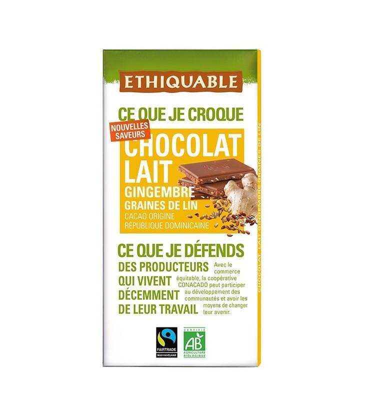 Chocolat Lait Gingembre graines de Lin bio & équitable