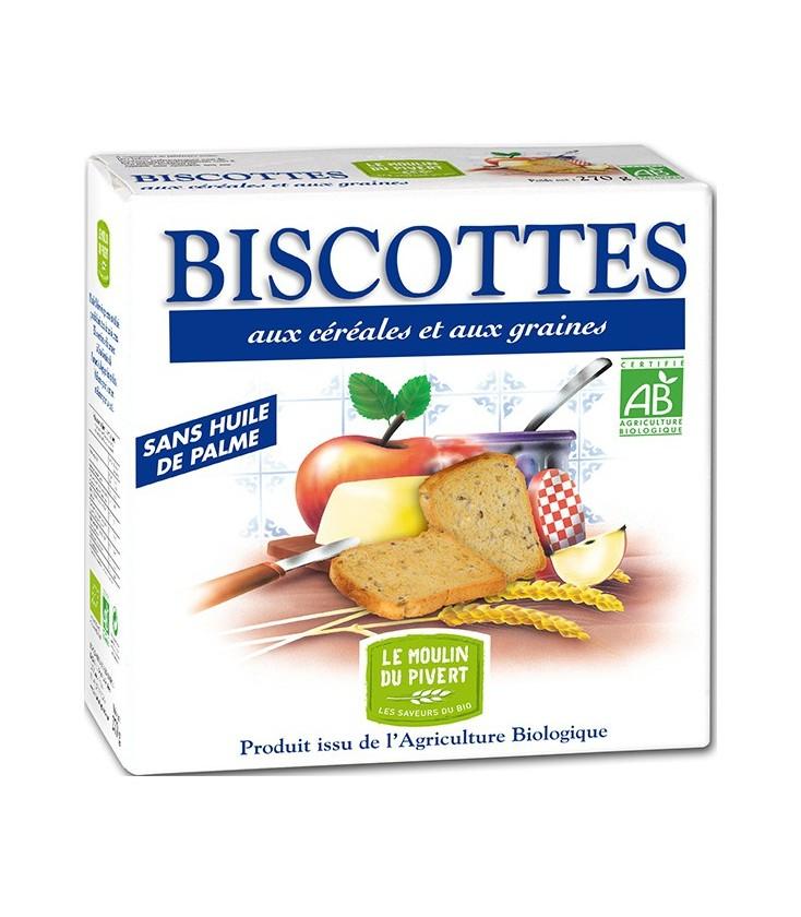 Biscottes aux céréales et aux graines bio & vegan
