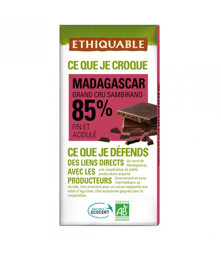 Chocolat Noir Grand Cru 85% bio & équitable
