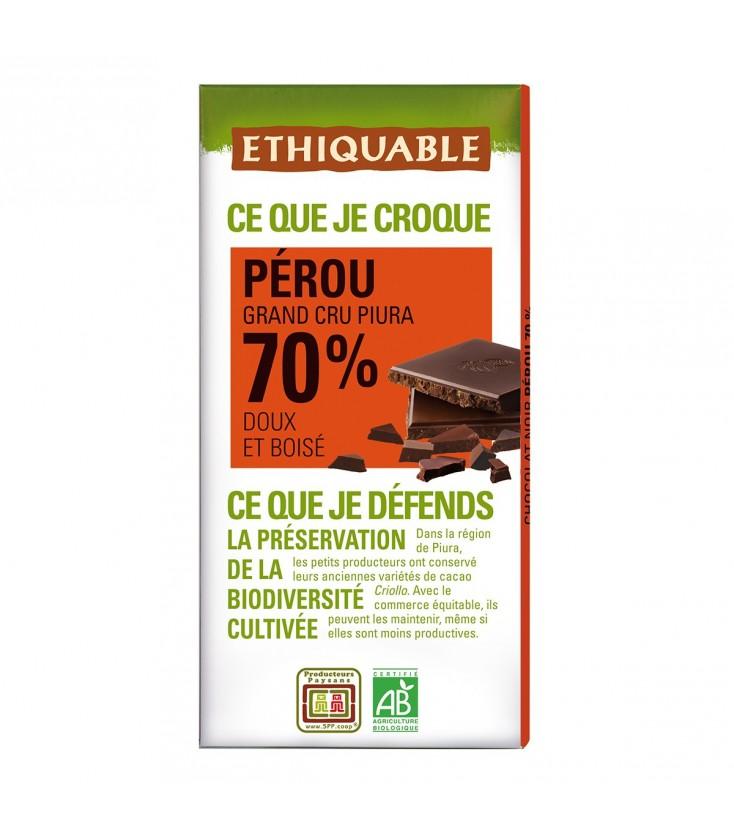 Chocolat Noir Grand Cru 70% bio & équitable
