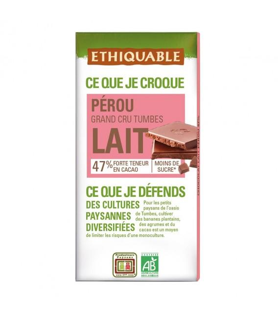 Chocolat au lait 47% Grand Cru Pérou bio & équitable