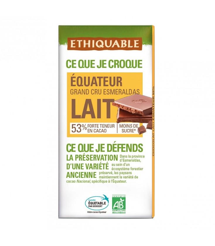 Chocolat au lait 53% Grand Cru d'Equateur bio & équitable