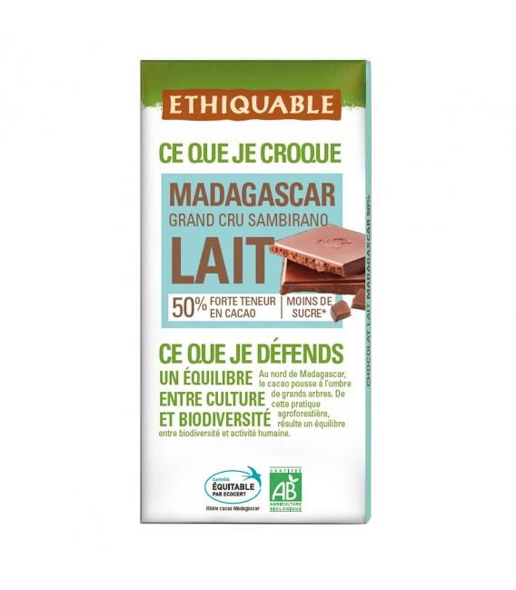 Chocolat au lait 50% Grand Cru de Madagascar bio & équitable