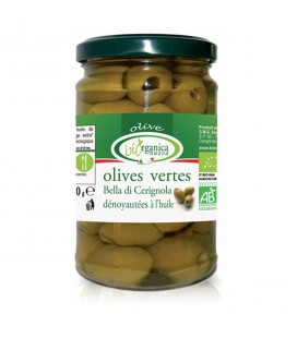 Olives vertes bio dénoyautées à l'huile