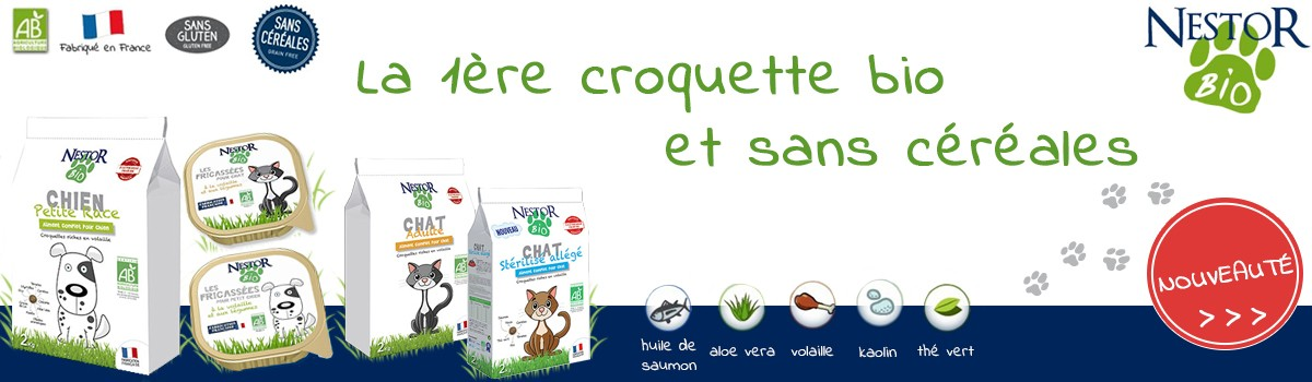 La nouvelle croquette bio et sans gluten, 100% made in France !
