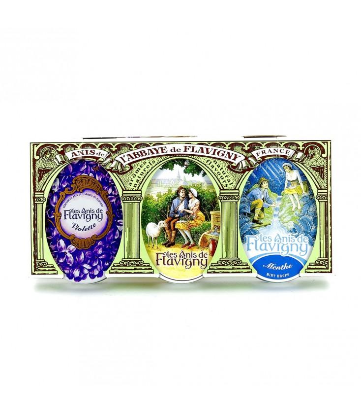 Lot de 3 boîtes de bonbons à l'anis, violette & menthe