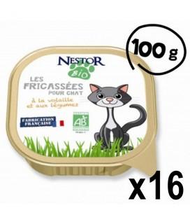 Lot de 16 Fricassées bio pour chat à la volaille et aux légumes