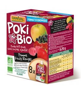Poki Bio - Purée pomme & fruits rouges 100% fruit bio sans sucres ajoutés X8