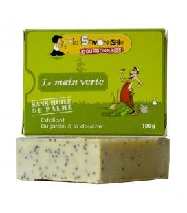 "Savon exfoliant ""La Main Verte"" menthe, graine de pavot, huile de noix 100% bio & vegan"