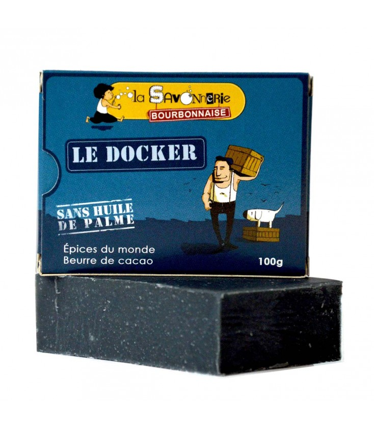 """Savon """"Le Docker"""" aux épices du monde, charbon et beurre de cacao - Nature et Progrès & Vegan"""