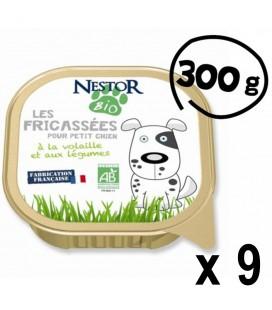 Lot de 9 Fricassées bio pour petit chien à la volaille et aux légumes