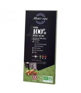 Chocolat noir 100 % aux éclats d'amandes bio & équitable