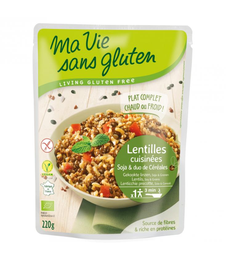 Lentilles cuisinées, soja et duo de céréales bio & sans gluten