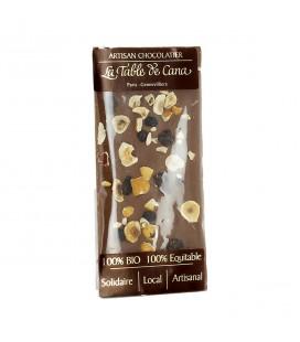 Chocolat au lait 37% noisettes & duo de raisins bio