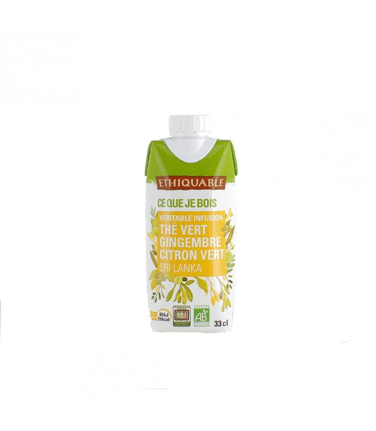 Infusion glacée thé vert gingembre citron vert bio & équitable