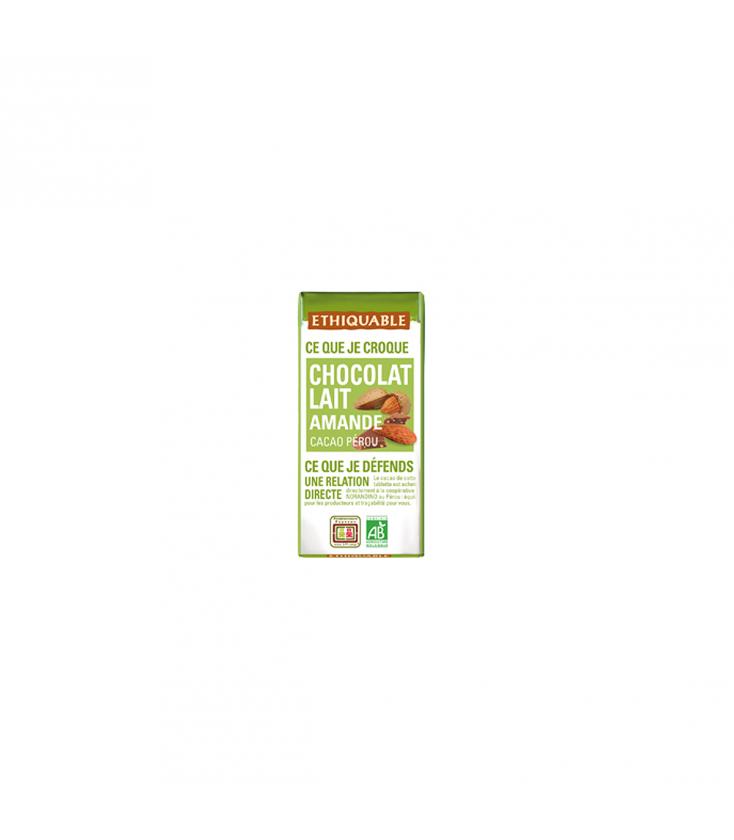 Mini tablette chocolat lait amande bio & équitable