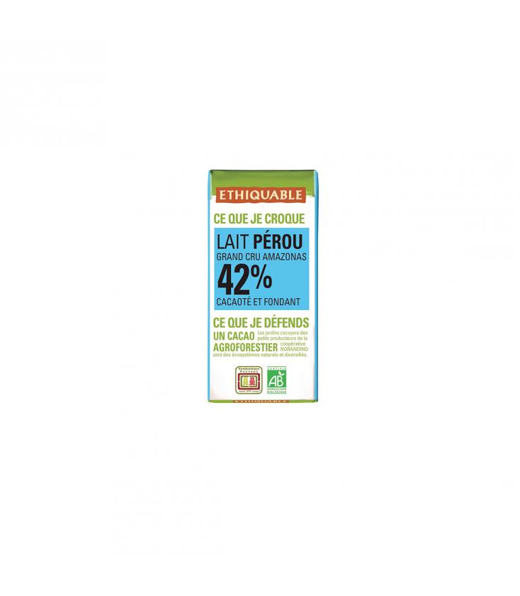 Mini tablette chocolat lait 42% bio & équitable