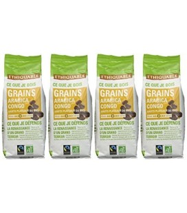 Ethiquable - Café Grains Congo Bio et Equitable 250 g Max Havelaar - Lot de 4