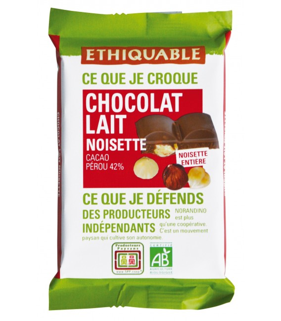Mini tablette chocolat noir noisette bio & équitable