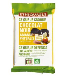 Carré à croquer au chocolat noir amande entière et physalis - bio & équitable
