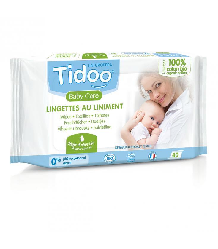 Lingettes Tidoo bébé au liniment et huile d'olive Bio