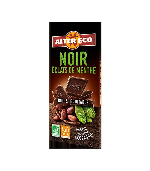 Chocolat NOIR Eclats de Menthe bio et équitable
