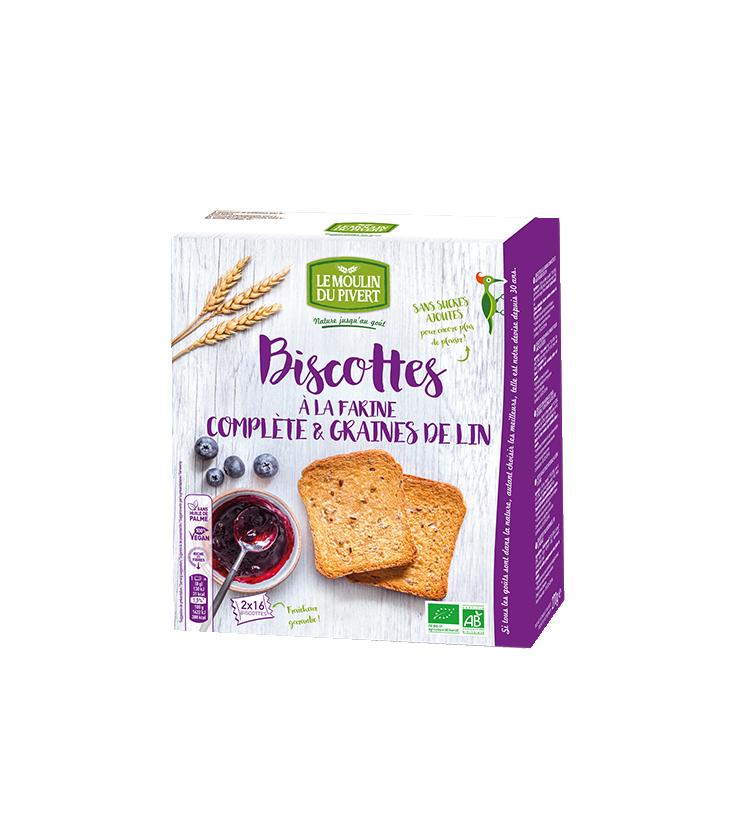Biscottes à la farine complète & graines de lin bio & vegan