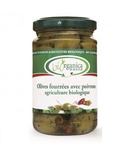 Olives à l'Huile Farcies aux Poivrons Bio et Vegan