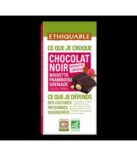 Carré à croquer au chocolat noir noisette entière, framboise et grenade - bio & équitable