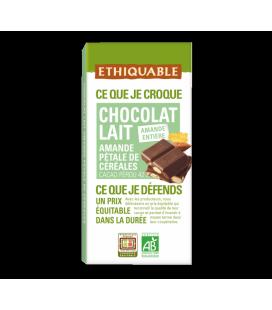 Carré à croquer au chocolat au lait 42% amande entière et pétale de céréales - bio & équitable