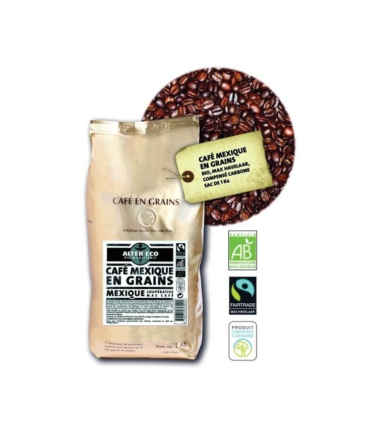 Café 1kg Mexique en grain bio et équitable
