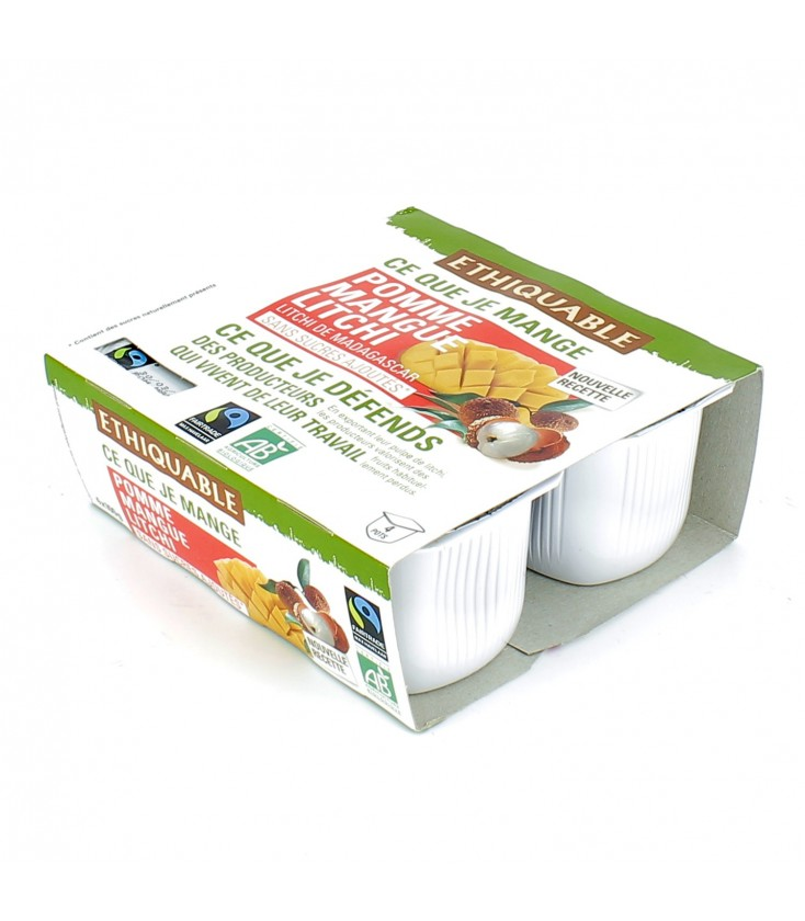 DATE PROCHE - Purée de pomme mangue litchi bio et équitable