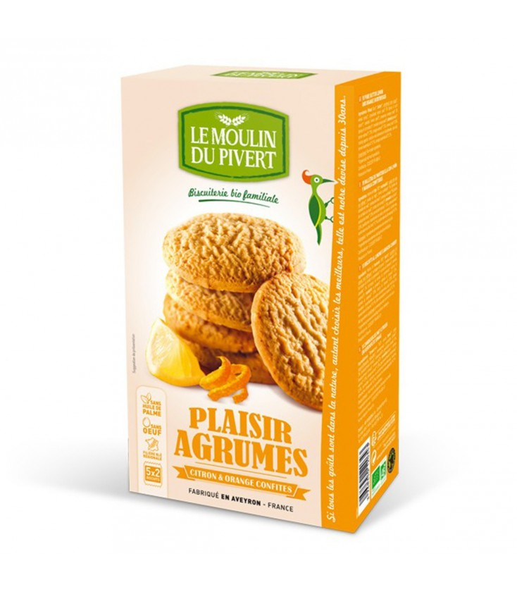 PROMO - Biscuits Plaisir Agrumes Citron et Orange confits bio & équitable