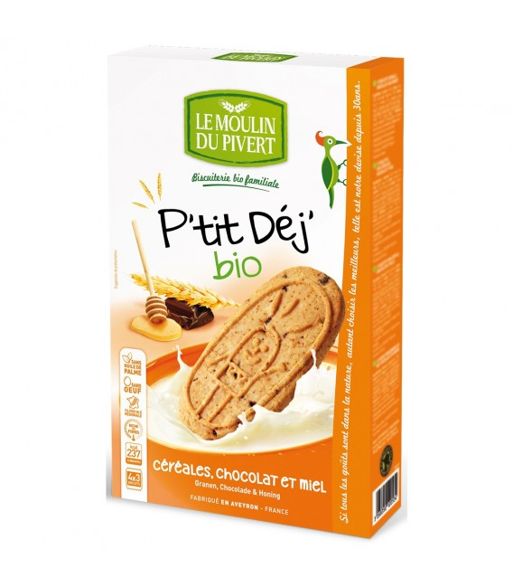 DATE DÉPASSÉE - Biscuits P'tit Déj' Céréales, Chocolat et Miel bio & équitable