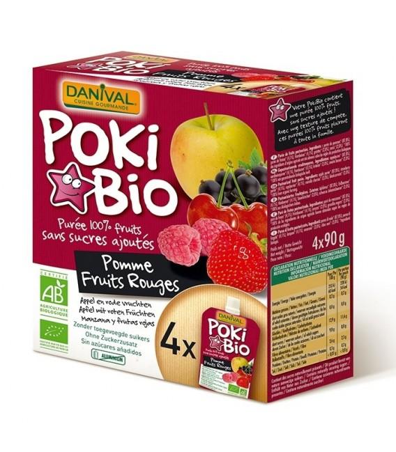 Poki Bio - Purée pomme & fruits rouges 100% fruit bio sans sucres ajoutés X4