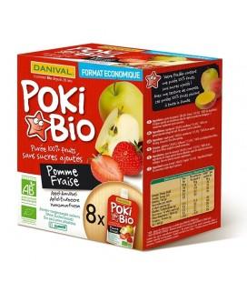 Poki Bio - Purée pomme & fraise 100% fruit bio sans sucres ajoutés