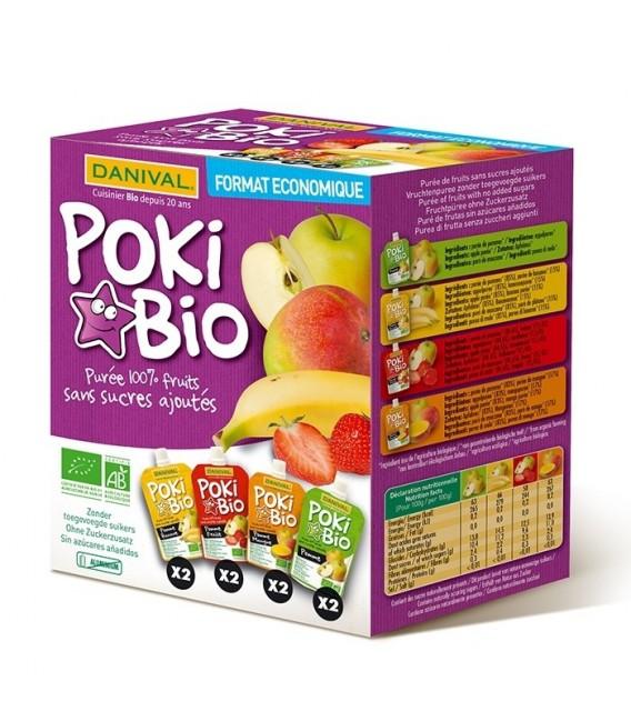 Poki Bio - Assortiment de purées 100% fruits bio sans sucres ajoutés