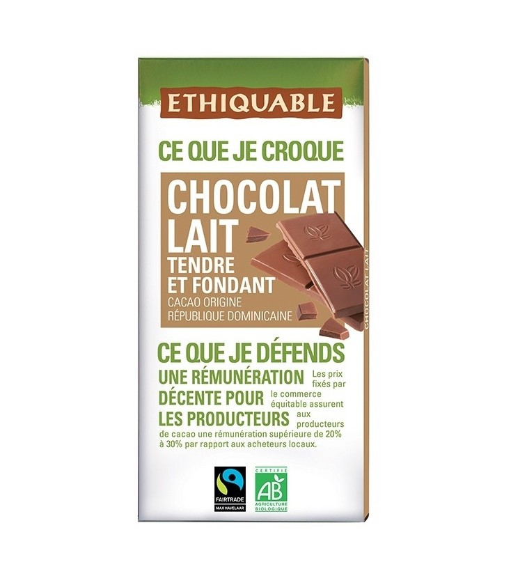 Chocolat Lait Nature bio & équitable