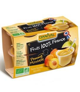 Purée pomme & mirabelle 100% France bio sans sucres ajoutés
