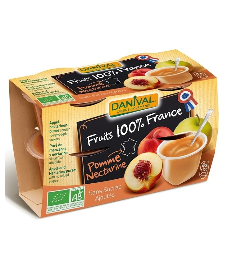 Purée 100% France Pomme Nectarine bio