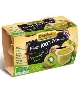 Purée pomme & kiwi 100% fruit bio sans sucres ajoutés