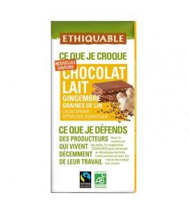PROMO - Chocolat Lait Gingembre graines de Lin bio & équitable
